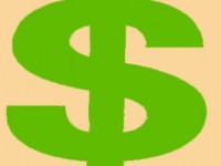 cartoonish dollar sign in chartreuse green with a beige background