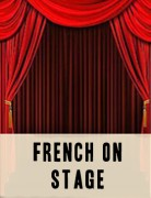 Two parted red velvelt curtains in an old-fashioned theatre in the act of opening for a play
